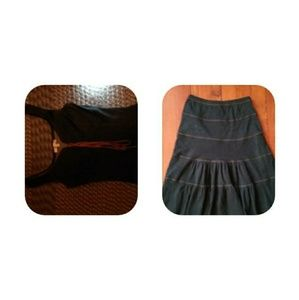 Dresses & Skirts - Denim Stretch Cotton Skirt Set Size S